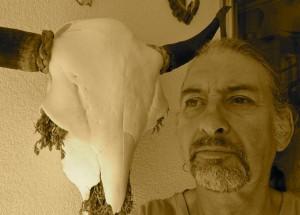 K.J.Rosenthaler,Selbstporträt mit Bisonschädel,2013,bearb.iPhoto,Sepia